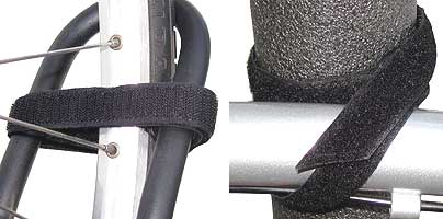 Cinch strap securing bike frame