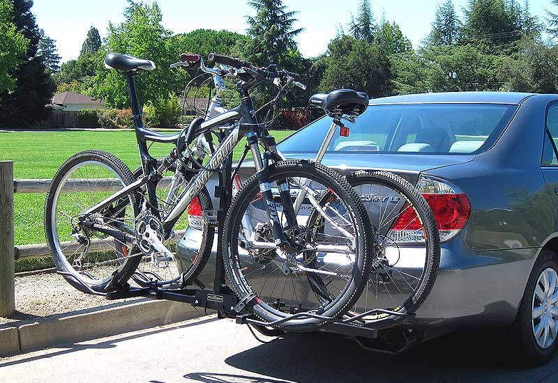 Off road bikes on car platform rack
