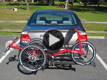Recumbent tadpole trike on Hitch Rider trike rack