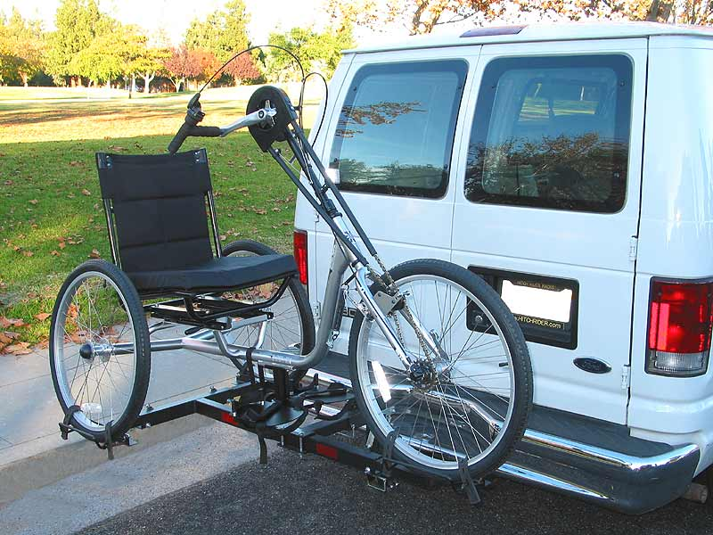 Hand cycle on Hitch Rider trike rack