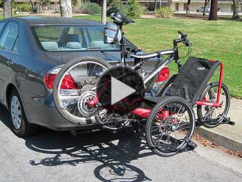 Tour Easy recumbent bike and Catrike tadpole trike on hitch rack